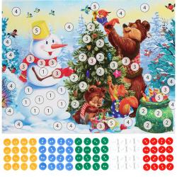 Мозаика пуговицами А5 Рыжий кот Снеговик и лесные звери М-7029