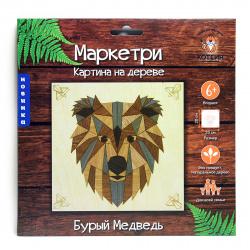Мозаика деревянная Маркетри 20*20 КОТЕИН Бурый медведь KD0207