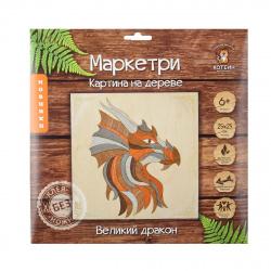 Мозаика деревянная Маркетри 25*25 КОТЕИН Великий дракон KD0209