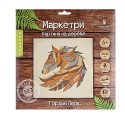 Мозаика деревянная Маркетри 25*25 КОТЕИН Гордый пегас KD0211