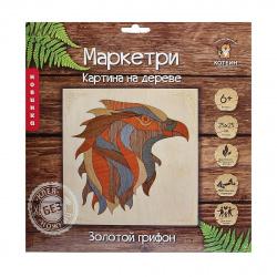 Мозаика деревянная Маркетри 25*25 КОТЕИН Золотой грифон KD0212