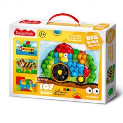 Мозаика пластиковая 107 фишек 23*35 Baby Toys Мозаика для самых маленьких 02519