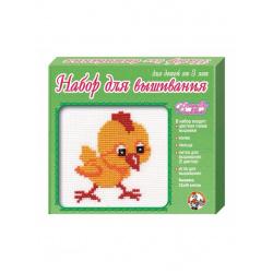 Вышивка мулине Десятое Королевство  Цыпленок с пяльцами 01099