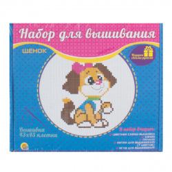 Вышивка мулине Рыжий кот Пёсик с пяльцами НШ-9883