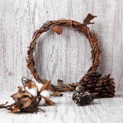 Набор природного декора КОКОС Венок (лоза, хлопок, шишки, листья) 183206