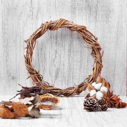Набор природного декора КОКОС Венок (лоза, хлопок, шишки, бадьян, листья, дольки апельсина) 183207