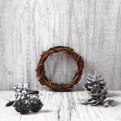 Набор природного декора КОКОС Венок (лоза, шишки, ягоды, листья) 183209 золото, серебро