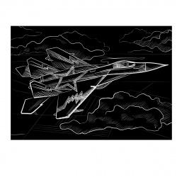 """Гравюра с эффектом """"золото"""" Летящий самолет Рыжий кот Г-0520"""