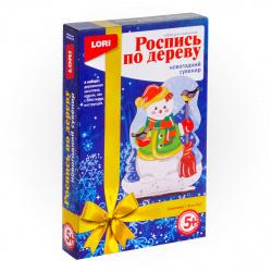 Набор для росписи Новогодний сувенир Снеговик дерево Lori Фнн-010