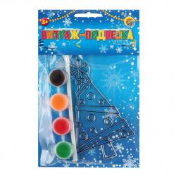 Краски по стеклу 4 цвета Витраж-подвеска Рыжий кот Новогодняя ёлка В-7339