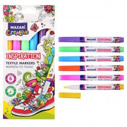 Набор маркеров по ткани 6цв Mazari Inspiration M-5013-6 картонная коробка