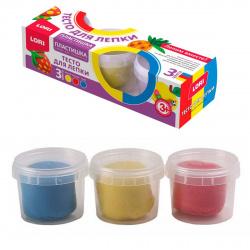 Тесто для лепки 3 цвета по 80гр Lori Пластишка застывающее на воздухе Тдл-021