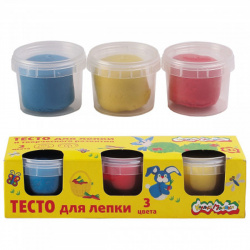 Тесто для лепки 3 цвета по 90гр Каляка Маляка ТЛКМ-03 красн, желт, син