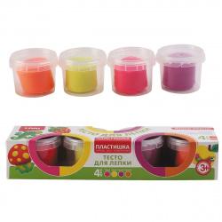 Тесто для лепки 4 цвета по 80гр Lori Пластишка Набор №11 застывающее на воздухе Тдл-014