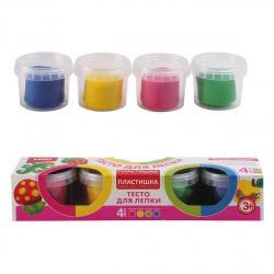 Тесто для лепки 4 цвета по 80гр Lori Пластишка Набор №8 застывающее на воздухе Тдл-011