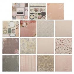 Бумага для скрапбукинга 15*15см 24л 12 цветов КОКОС с декором 184291/DSM019