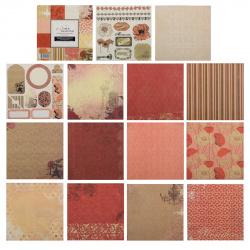 Бумага для скрапбукинга 15*15см 24л 12 цветов КОКОС с декором 184292/DSM020