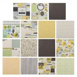 Бумага для скрапбукинга 15*15см, 24л, 12 цветов, элементы декоративные КОКОС 184293-DSM021