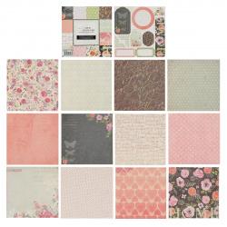 Бумага для скрапбукинга 15*15см, 24л, 12 цветов, элементы декоративные КОКОС 184294-DSM017