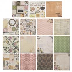 Бумага для скрапбукинга 15*15см, 24л, 12 цветов, элементы декоративные КОКОС 184296