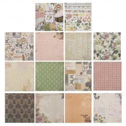Бумага для скрапбукинга 30*30см, 24л, 12 цветов, элементы декоративные КОКОС 184300-PS023