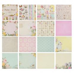 Бумага для скрапбукинга 30*30см 24л 12 цветов КОКОС с декором 184306/PS007