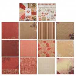 Бумага для скрапбукинга 30*30см, 24л, 12 цветов, элементы декоративные КОКОС 184311