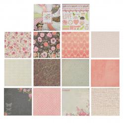 Бумага для скрапбукинга 30*30см, 24л, 12 цветов, элементы декоративные КОКОС 184312