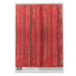 Декупажная карта Geronimo А4 25г/м2 1л Старые красные доски TD25A4-00114