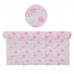 Бумага крепированная 50*250 32г/м КОКОС V264_B00 розовые розы на белом