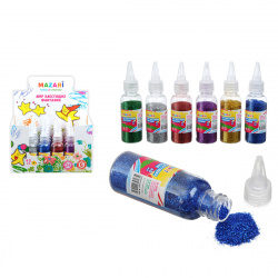 Блестки 40гр Mazari пластиковая бутылочка M-5662 ассорти 6 цветов