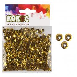 Пайетки 6мм 10гр 183670/40 КОКОС золото