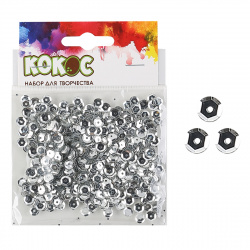 Пайетки 6мм 10гр 183670/1 КОКОС серебро