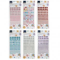Стразы самоклеящиеся Цветы 101шт Mazari M-8706 ассорти 6 видов