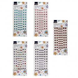Стразы самоклеящиеся Цветы+Круг 164шт Mazari M-8709 ассорти 6 видов