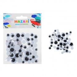 Глазки декоративные ассорти 60 шт d-8,10,12,15мм черные Mazari M-4324