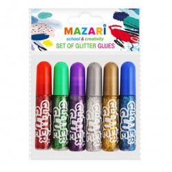 Гель с блестками 6 цветов 6мл Mazari М-5652 ассорти