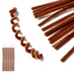 Проволока декоративная Шенил 30см 10шт КОКОС 200422 темно-коричневый