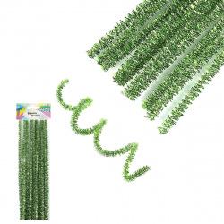 Проволока декоративная Шенил 30см 10шт КОКОС Блестящая 200425 зеленый