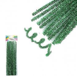 Проволока декоративная Шенил 30см 10шт КОКОС Блестящая 200429 темно-зеленый