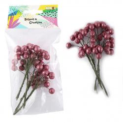 Декор Ягоды на веточке 4шт с блестками КОКОС 200399 розовый
