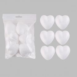 Пенопластовая заготовка Сердце d-60мм 6шт КОКОС 180503/437