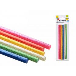 Клеевые стержни 6шт Mazari цветные с блестками диаметр 7мм длина 100мм M-9870-0.7-6OPP