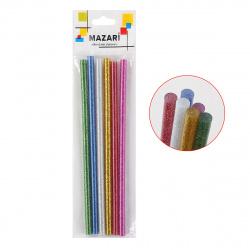 Клеевые стержни 6шт Mazari цветные с блестками диаметр 7мм длина 180мм  M-4387OPP-6