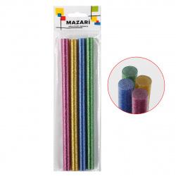 Клеевые стержни 4шт Mazari цветные с блестками диаметр 11мм длина 180мм M-4386OPP-4