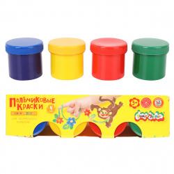 Краски пальчиковые 4 цвета 110мл Каляка-Маляка картонная коробка ПККМ04
