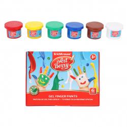 Краски пальчиковые 6 цветов 35мл Erich Krause Artberry с Алоэ Вера картонная коробка 41752