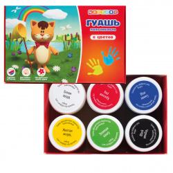 Краски пальчиковые 6 цветов 40мл Невская палитра Цветик картонная коробка 3041243