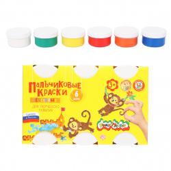 Краски пальчиковые 6 цветов 60мл Каляка-Маляка сенсорные 2+ картонная коробка ПКСКМ06