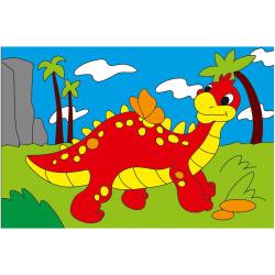Картина по номерам 100*150мм, холст, на подрамнике Забавный Динозавр Рыжий кот ХМ-0397